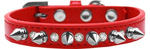 Crystal and Silver Spikes Dog Collar Red Size 16